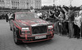 Rolls royce phantom ewb gumball edition dublin to bucharest from wolf pack team rally number on final closing ceremony of Royalty Free Stock Image
