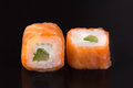 Rolls with salmon and avocado