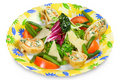Rolls with salmon and cheese, fresh salad on plate Stock Photography