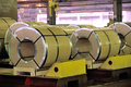 Rolls of steel sheet in factory Royalty Free Stock Photo