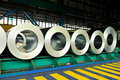Rolls of steel sheet in a warehouse Royalty Free Stock Photo