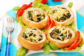 Rolls stuffed with spinach and eggs Royalty Free Stock Photos