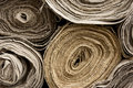 Rolls of textile homemade linen Royalty Free Stock Photos