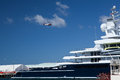 Roman abramovich yacht luna docked san diego not far broadway pier luna metre explorer yacht built lloyd werft stahlbau nord also Stock Photography