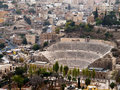 Roman amphitheater in Amman Stock Photo