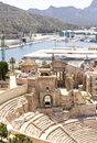 Roman amphitheater in cartagena murcia spain and modern harbor Stock Photography