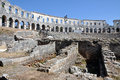 Roman amphitheater, colosseum in Pula, Croatia Royalty Free Stock Photography