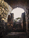Roman amphitheater entry gallery mérida november ruins in mérida capital of extremadura region in spain year b c spectators Royalty Free Stock Photography