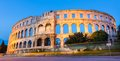 The roman amphitheater of pula croatia shot at dusk it was constructed in ad and is among six largest surviving arenas Stock Photography