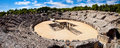 Roman amphitheater ruin italica spain province seville andalusia Stock Photo