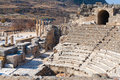 Roman amphitheater ruins with stone columns row in ephesus Archa Royalty Free Stock Photo