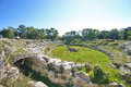 Roman amphitheater of syracuse view the ancient inside the neapolis archaeological park in sicily Royalty Free Stock Photography