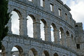 Roman amphitheater view of the arena colosseum in pula croatia Royalty Free Stock Photography