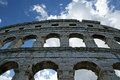 Roman amphitheater view of the arena colosseum in pula croatia Royalty Free Stock Images