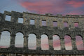 Roman amphitheater view of the arena colosseum in pula croatia Royalty Free Stock Photo