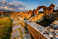 Roman ampitheater ruins nella città antica di salona Fotografia Stock Libera da Diritti