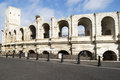 Roman arena of arles the amphitheater arcades Stock Images
