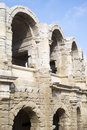 Roman arena of arles the amphitheater arcades Royalty Free Stock Images