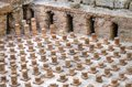 Roman baths in beirut lebanon a view of the archaeological ruins of brick vaults supporting the floor of the ancient discovered Royalty Free Stock Photo