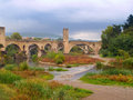 Roman bridge in Besalu, Spain Stock Image
