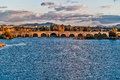 Roman bridge in merida mérida november over guadiana river i b c or a c century meters use unesco world heritage site Stock Image
