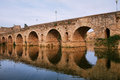 Roman bridge in merida over guadiana river extremadura spain Stock Image
