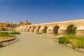 Roman bridge over guadalquivir river cordoba calahorra tower torre de la calahorra fortified gate to protect bridge Royalty Free Stock Images
