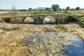 Roman bridge over the river brulles trisla in sasamon burgos spain Royalty Free Stock Photos