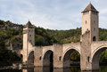Roman bridge ponte valentre th century at cahors france Royalty Free Stock Photography