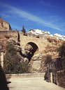 Roman bridge ronda malaga andalusia spain view on the in Royalty Free Stock Photos