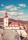 Roman catholic church in Divin village, Slovakia, red filter