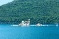 Roman catholic church of our lady of the rocks perast montenegro kotor summer view on artificial island with built in y town Royalty Free Stock Photography