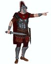 Roman centurion ordering an attack of the imperial legionary army wearing a transverse crested helmet and carrying a gladius or Stock Photo