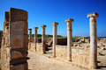 Roman columns at the paphos archaelogical park cyprus Stock Image