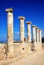 Roman columns at the paphos archaelogical park cyprus Stock Photos