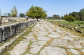 Roman era ancient street at Dion of Greece Royalty Free Stock Images