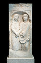 Roman era sandstone grave stele shows relief of a couple s farewell dexiosis Stock Photography