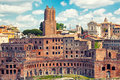 Roman forum ancient ruins in rome italy Royalty Free Stock Images