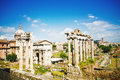 Roman forum ancient ruins in rome italy Stock Photos