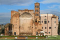 Roman forum and basilica santa francesca seen from the colosseum horizontal view with Stock Photos