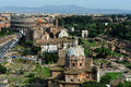The roman forum and the colosseo rome foro romano italy Royalty Free Stock Photography