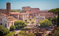 Roman forum and colosseum Royalty Free Stock Photography
