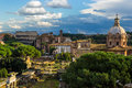 Roman Forum (Foro Romano) and Colosseum Stock Photo