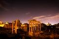 The Roman Forum, Italian Foro Romano in Rome, Italy at night. Royalty Free Stock Photo