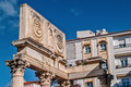 Roman forum and modern building contrast mérida november in mérida capital of extremadura region in spain unesco world heritage Royalty Free Stock Image