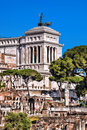 Roman Forum with National Monument of Victor Emmanuel II in Rome, Italy Royalty Free Stock Photo