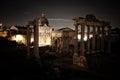 Roman Forum at night Royalty Free Stock Photo