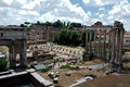 Roman forum the is a rectangular surrounded by the ruins of several important ancient government buildings at the center of Stock Photography