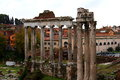 Roman forum ruins at the foro romano in rome italy Royalty Free Stock Photography
