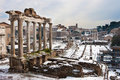 Roman Forum with snow. Royalty Free Stock Photo